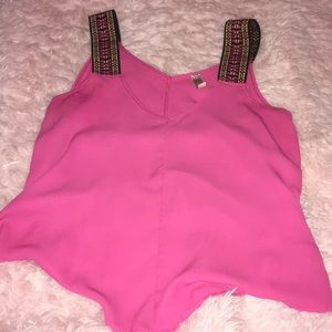Tops - Pink tank top with Aztec straps